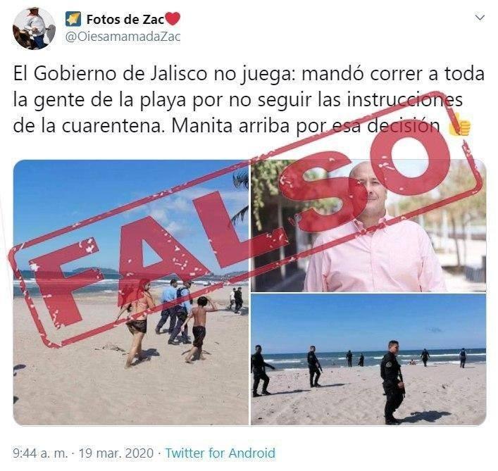 Falso que el Gobierno de Jalisco desalojó a ciudadanos de la playa